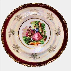 Large Porcelain Plate Fine China Couple Gold 10.25